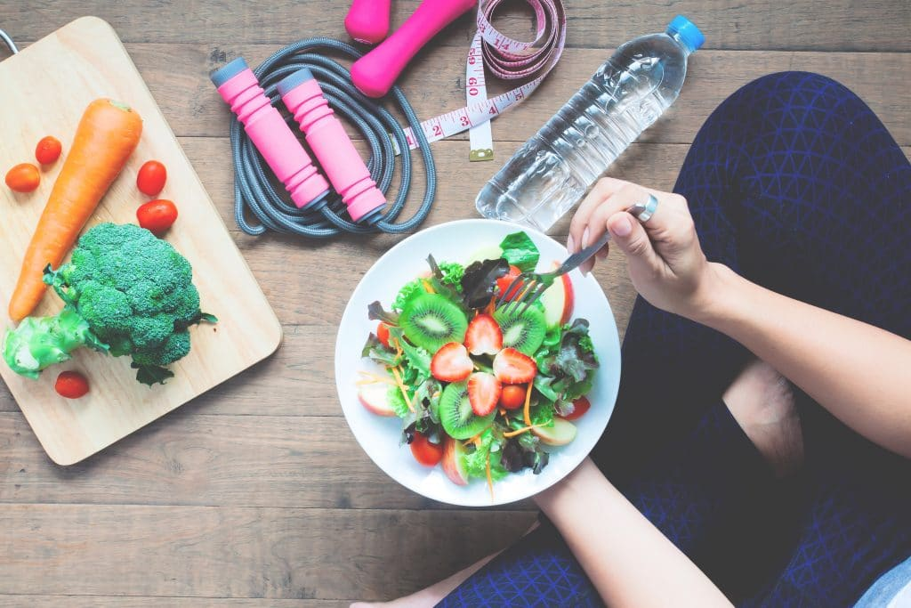 Healthy food + exercise gear